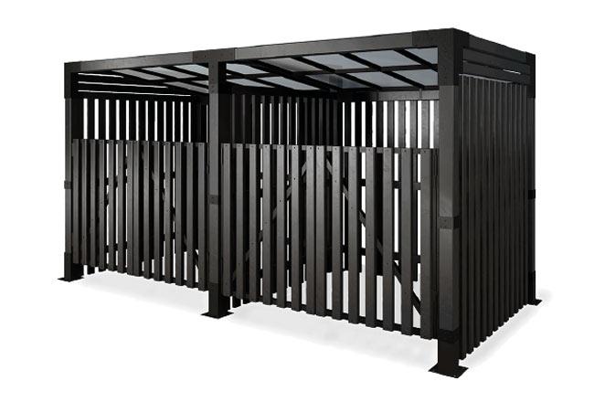 Эконавес для 2-х мусорных баков с воротами